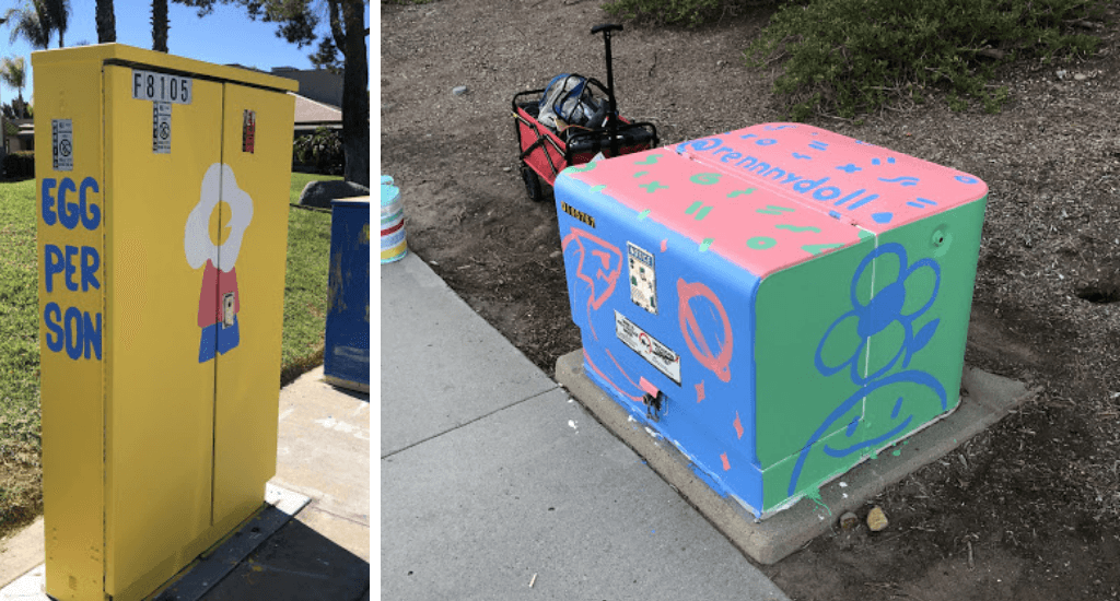 Electric Boxes Ren has painted over in Mira Mesa, CA.